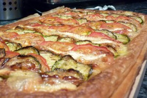 Tomato, brie and courgette tart